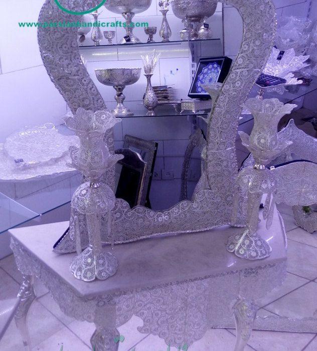 قیمت فروش آینه سلطنتی ملیله آبکاری نقره