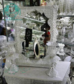 آینه شمعدان مستطیل ملیله آبکاری نقره نمای نزدیک