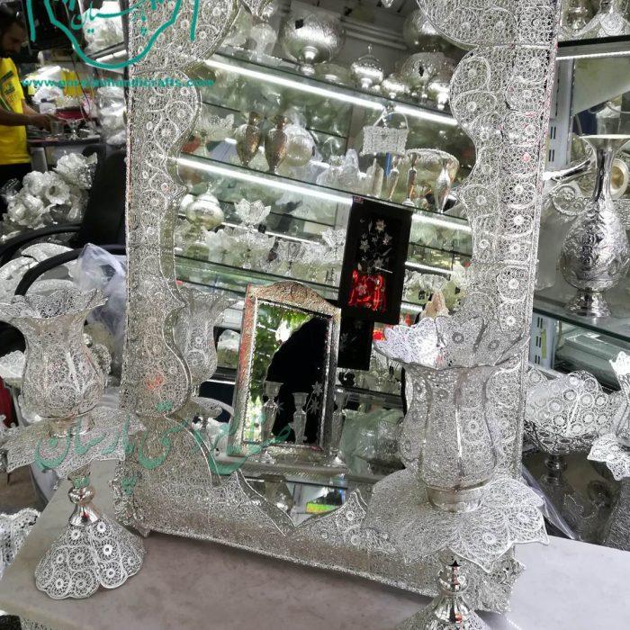 قیمت آینه شمعدان مستطیل ملیله آبکاری نقره