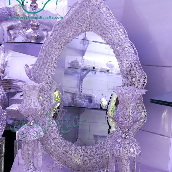 قیمت فروش آینه شمعدان نیزه ای ملیله آبکاری نقره