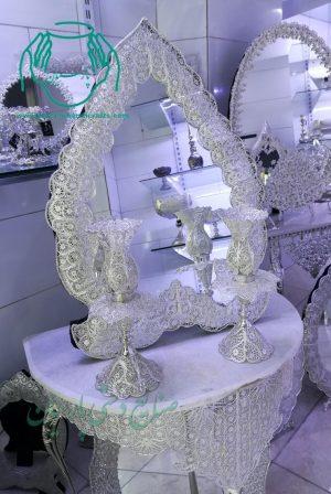قیمت فروش آینه شمعدان ملیله نقره طرح قلب جدید