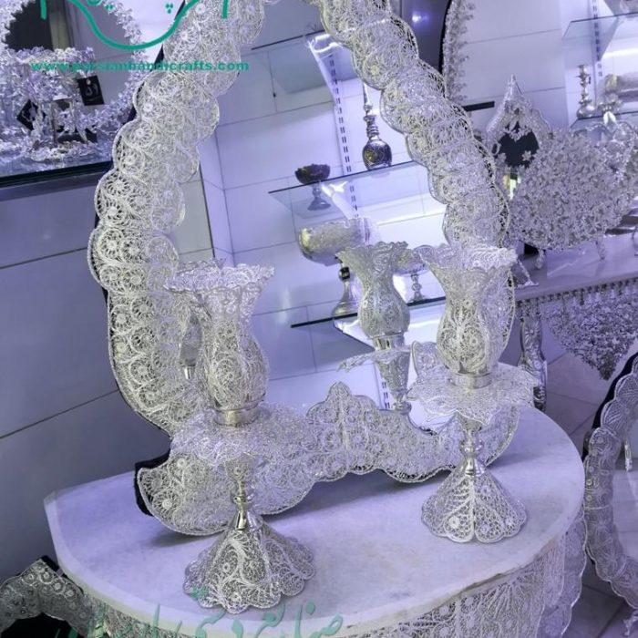 آینه شمعدان ملیله کاری نقره طرح قلب جدید