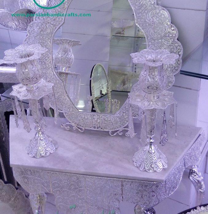 قیمت فروش آینه شمعدان ملیله نقره ابریشمی