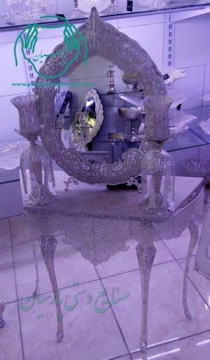 تصویر آینه و شمعدان ملیله نقره ارزان