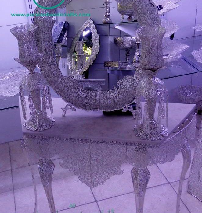 عکس آینه و شمعدان ملیله نقره ارزان