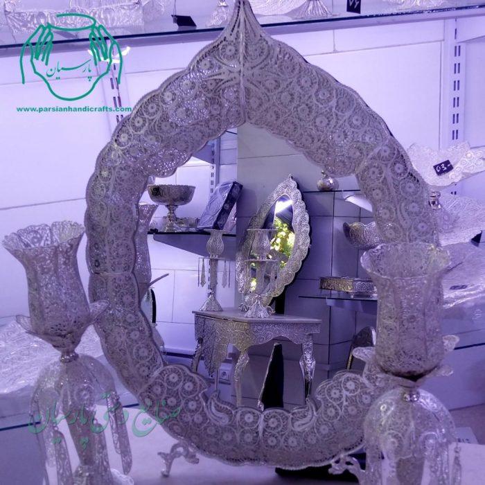 آینه و شمعدان ملیله آب نقره