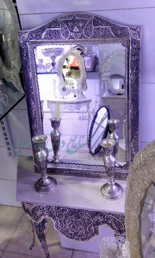 قیمت آینه شمعدان قلمزنی گل مرغ ریزه پرکار تاج بوته جقه