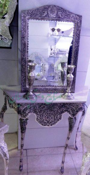 عکس آینه و شمعدان قلم گل و مرغ تاج آهو