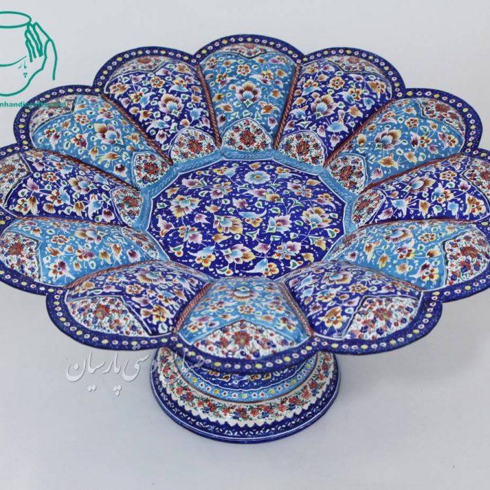 عکس شیرینی خوری پایه دار میناکاری اصفهان