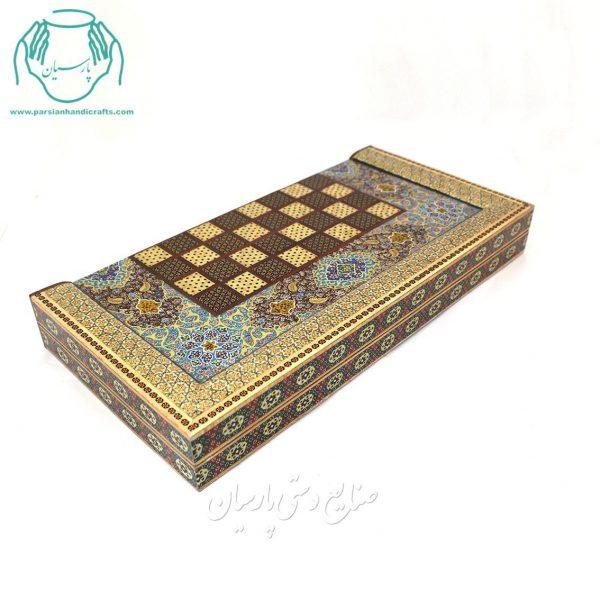 قیمت تخته نرد و شطرنج خاتم کاری لب ستونی گل اسلیمی