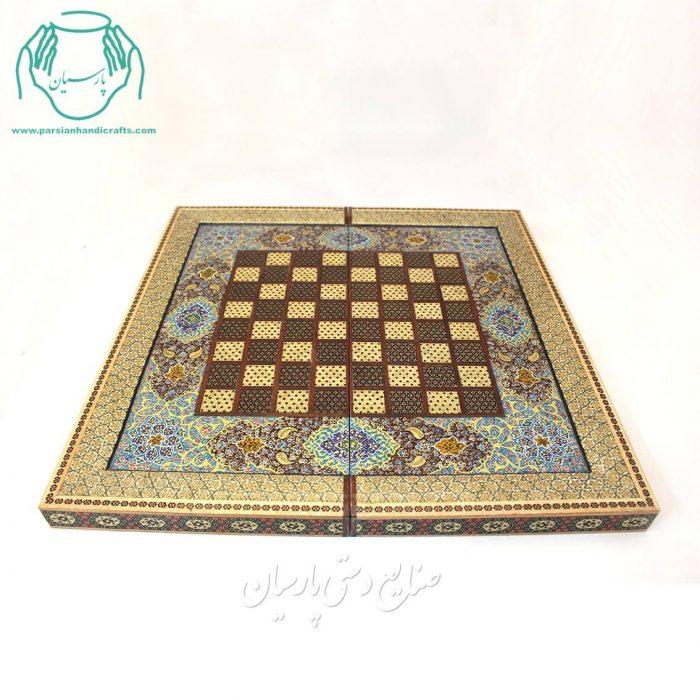 قیمت فروش تخته نرد و شطرنج خاتم کاری لب ستونی گل اسلیمی