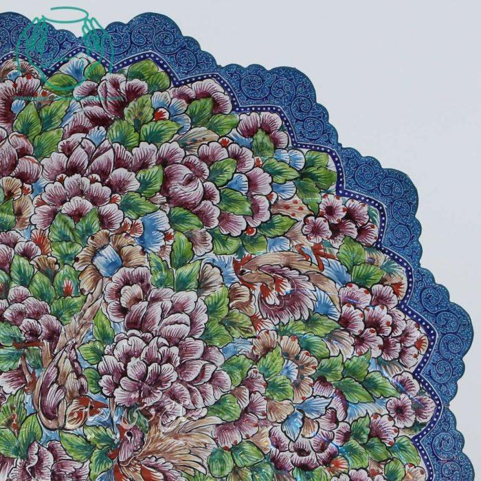 تصویر بشقاب میناکاری گل و مرغ کف صاف