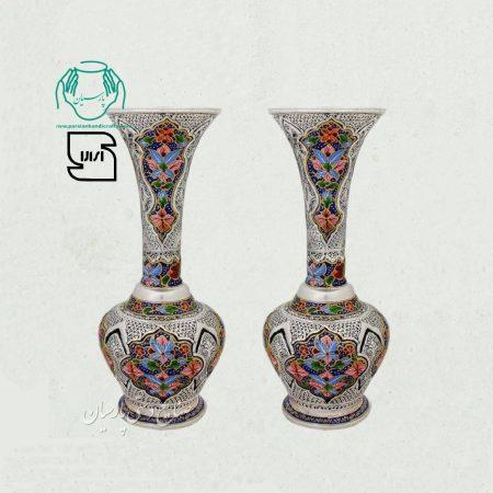 جفت گلدان مسی تلفیق هنر قلمزنی نقاشی مینیاتور