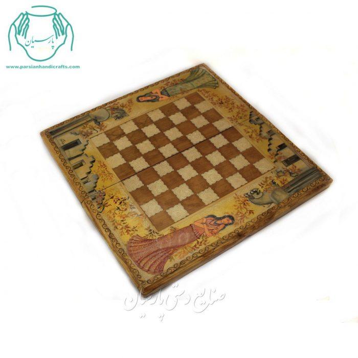 قیمت تخته نرد و شطرنج خاتم کاری چوبی گردویی چهره