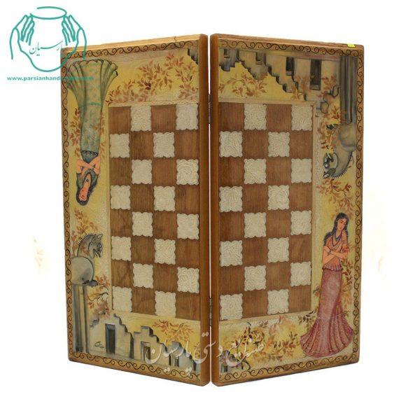 مرکز پخش تخته نرد و شطرنج خاتم کاری چوبی گردویی چهره