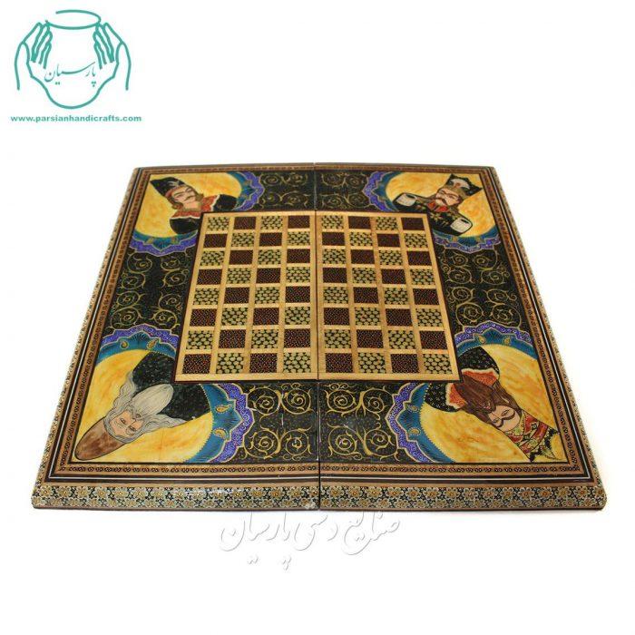 قیمت تخته نرد شطرنج خاتم کاری لب گرد نقاشی شاه عباسی