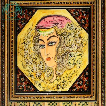 نمای نزدیک تخته نرد شطرنج خاتم کاری لب گرد نقاشی شاه عباسی اصفهان