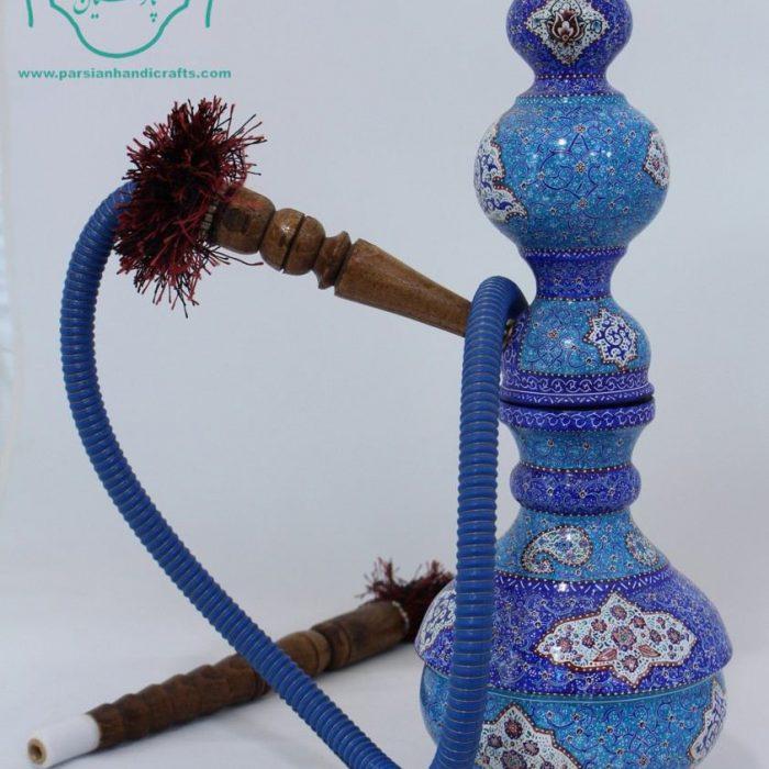 تصویر قلیان میناکاری طرح چنگ اسلیمی و ترنج صنایع دستی اصفهان