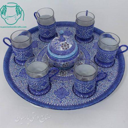 قیمت سرویس چای خوری پایه دار میناکاری
