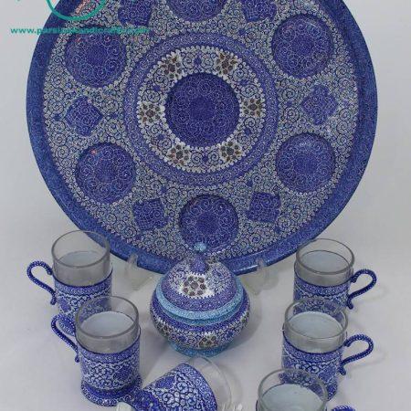 سرویس چای خوری پایه دار میناکاری