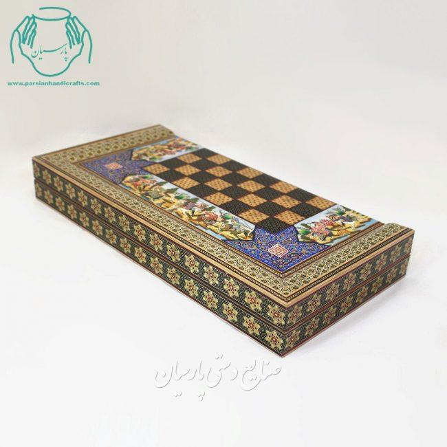 قیمت تخته نرد شطرنج خاتم کاری لب ستونی نقاشی چوگان برجسته