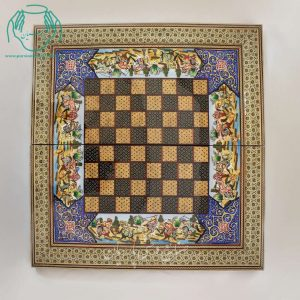تخته نرد شطرنج خاتم کاری لب ستونی نقاشی چوگان برجسته