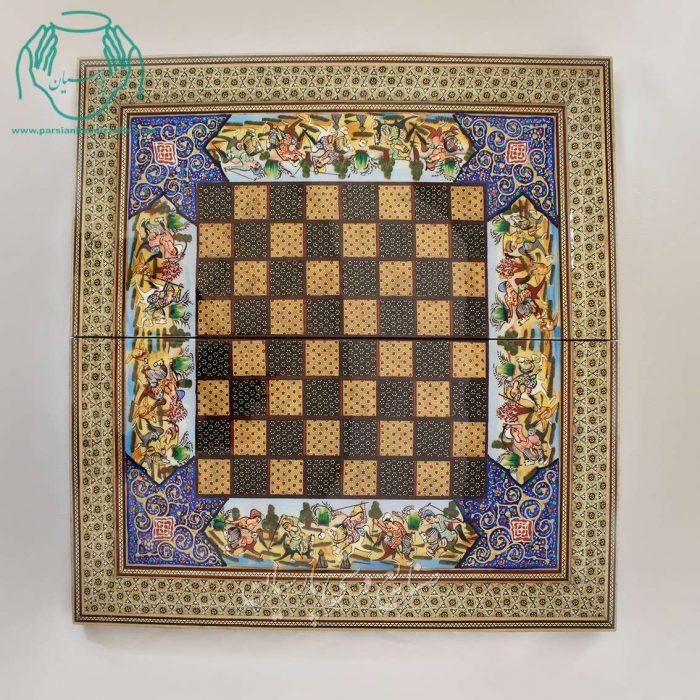 قیمت خرید فروش تخته نرد شطرنج خاتم کاری لب ستونی نقاشی چوگان برجسته