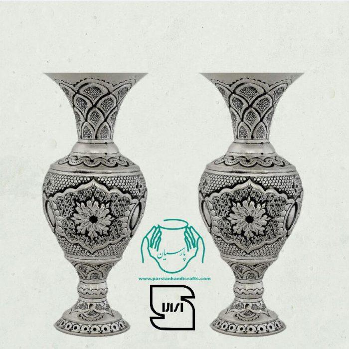 قیمت فروش گلدان مسی قلمزنی آبکاری نقره سیاه قلم اصفهان