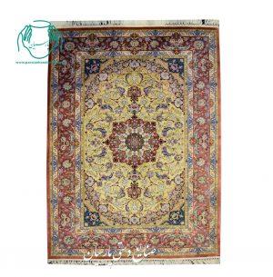 قیمت قالیچه دو کف ابریشم رنگ مسی طلایی اصفهان