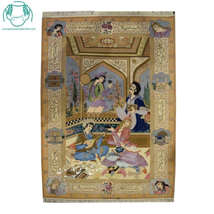 قیمت انواع قالیچه دستبافت عکسی رنگ کرم کرک و ابریشم اصفهان