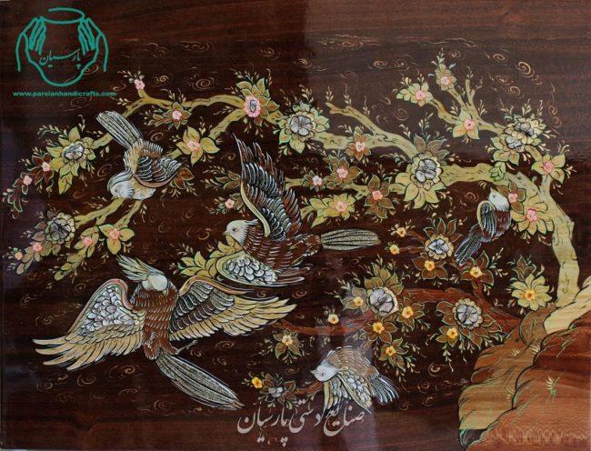 قیمت تابلو تلفیق هنر معرق چوب و مینیاتور پرنده