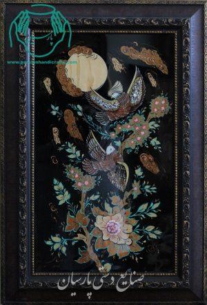 قیمت تابلو تلفیق هنر معرق چوب و مینیاتور دو مرغ