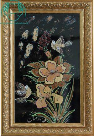قیمت فروش تابلو تلفیق هنر معرق چوب و مینیاتور گل و مرغ
