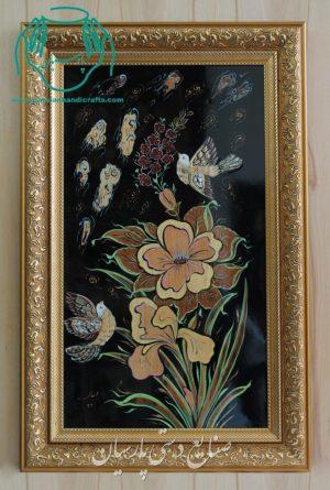 قیمت تابلو تلفیق هنر معرق چوب و مینیاتور گل و مرغ