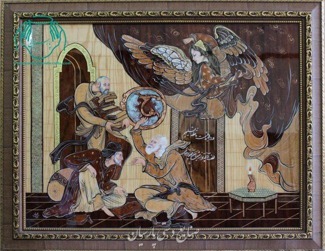 قیمت تابلو تلفیق هنر معرق چوب و مینیاتور و نقاشی آبرنگ