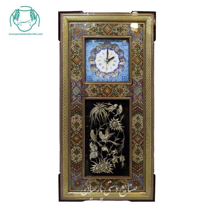 قیمت ساعت دیواری ستونی خاتمکاری و قلمزنی اصفهان