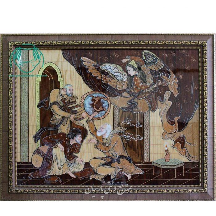 تابلو معرق چوب نقاشی مینیاتور حافظ فرشچیان