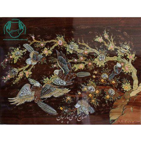 تابلو تلفیق هنر معرق چوب و مینیاتور پرنده