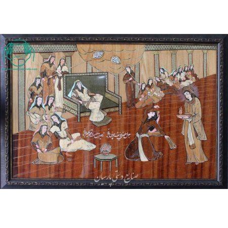 تابلو تلفیق هنر معرق چوب مینیاتور یوسف و زلیخا