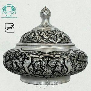 قیمت فروش شکلات خوری مسی آبکاری نقره سیاه قلم فانتزی اصفهان