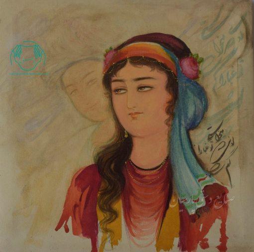 قیمت فروش نقاشی ایرانی روی بوم تک چهره