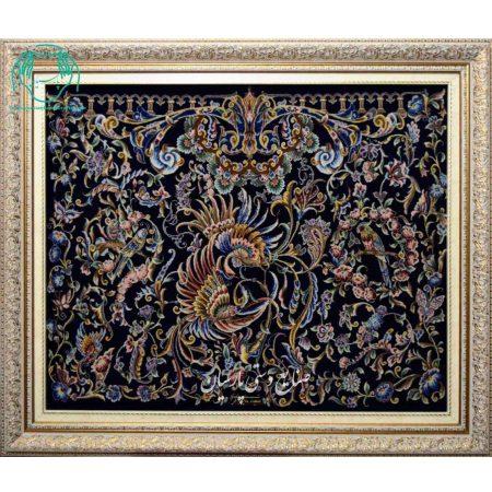 تابلو فرش دستباف گل مرغ کرک ابریشم