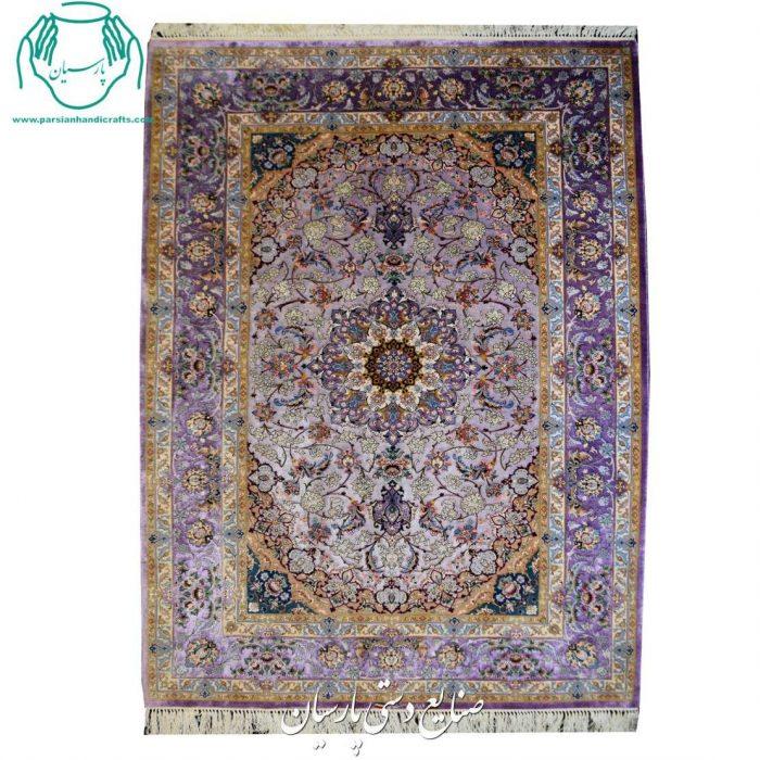 قیمت جفت قالیچه دو کف ابریشم رنگ یاسی اصفهان