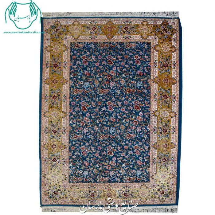 قیمت جفت قالیچه کرک ابریشم اصفهان گل مرغ رنگ بنفش