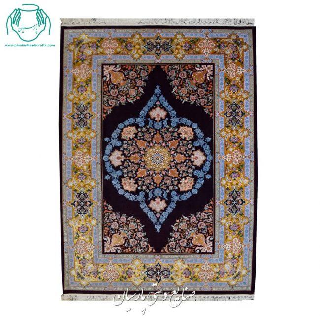 قیمت قالیچه دستباف یک کف ابریشم نقشه کف ساده بنفش