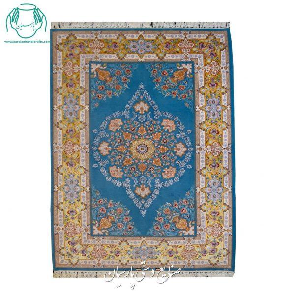قیمت جفت قالیچه دستباف ابریشم رنگ آبی فیروزه ایی