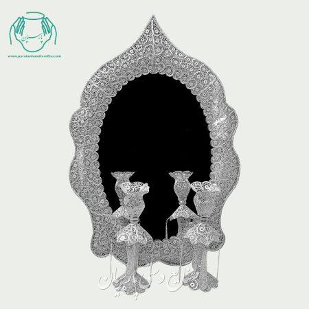 لاله و شمعدان ملیله شبه نقره طرح مسجدی نیزه ای