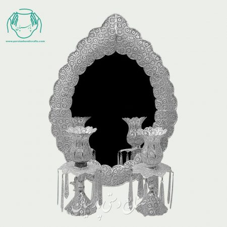 آینه شمعدان جدید ملیله نقره طرح دالبری
