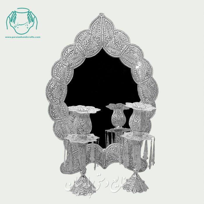 آینه شمعدان ملیله ابریشمی طرح بته جقه