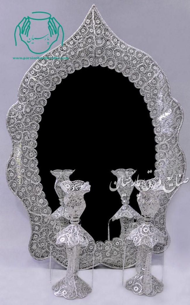 قیمت فروش آینه شمعدان ملیله نقره طرح مسجدی نیزه ای